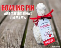 The best ever bowling party favors! Candy-filled bowling pins with printable tags from Chickabug!