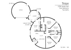 Floor Plan: DL-5014 | Monolithic Dome Institute- I'd add a craft room or something to the laundry