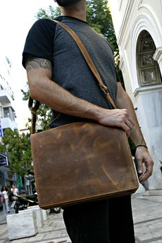 9b258840224 Leather Messenger Bag Waxed Light Brown Leather Laptop Wax