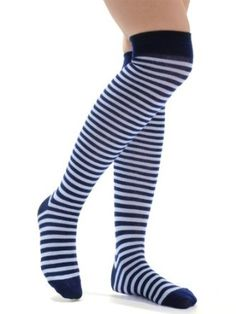 Women's Fun Navy Light Blue Striped Over the Knee Socks Sizes: One Size Bell. $11.99