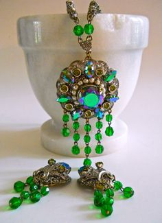 A green aurora borealis rhinestone necklace earrings set Victorian with from W.Germany....vintage:  Beautiful necklace and earrings set from West