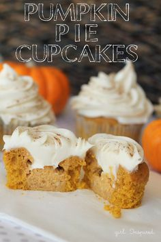 26 Delicious Desserts via Brit + Co. Pumpkin pie filled cupcakes with cream cheese icing!