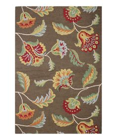 Another great find on #zulily! Chocolate & Red Floral Wool Rug by Bashian #zulilyfinds
