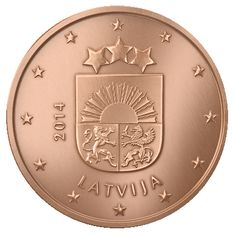 Latvian 1 euro cent coin, year 2014. Small Coat of Arms of The Republic of Latvia.