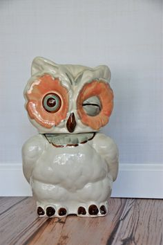 WOODLAND FRIENDS: Vintage winking owl cookie jar by Shawnee from Sugar Scout. As seen on: http://www.aladyinalabcoat.com/#!WOODLAND-FRIENDS/cmbz/56f9e3900cf2eb66d9708e21
