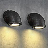 Américain LED tuyau d'eau appliques murales rouille lampe loft de la lampe murale balcon en fer forgé mur lampe LED lumières
