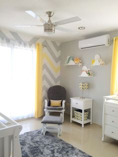 You are my sunshine baby nursery gray and yellow chevron cloud shelves