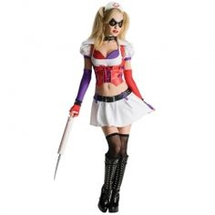 Get a look straight out of Arkham Asylum when you wear this Arkham Asylum Harley Quinn costume. This Arkham Asylum Harley Quinn costume is one of several Harley Quinn costumes we carry! Joker Nurse Costume, Costume Batman, Harley Quinn Halloween Costume, Jester Costume, White Halloween Costumes, Harley Quinn Cosplay, Doctor Costume, White Costumes, Halloween Parties