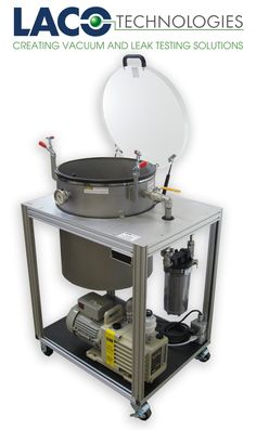 """VACUUM DEGASSING SYSTEMS VDS182015HS - 18"""" X 20"""" CART DEGAS SYSTEM (TWO STAGE/14CFM): This system features a 18"""" diam by 20"""" tall vertical vacuum chamber with clear acrylic removable lid. The manual vacuum valve and vent valves enable full control of the vacuum pump down and quick venting to prevent overflows during the degassing of compounds."""