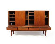 Mid Century Danish Teak Highboard Sideboard Storage 1960's Retro. 1495,00, via Etsy.