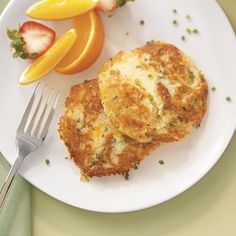 Au Gratin Potato Pancakes Recipe -Family and friends say these cheesy potato pancakes are among the best they've ever tasted. Have them at breakfast or dinner. —Cathy Hall, Lyndhurst, Virginia