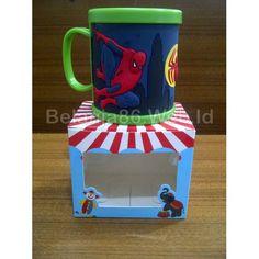 Maida 3D Mug Plastik Karakter Spiderman - Hijau