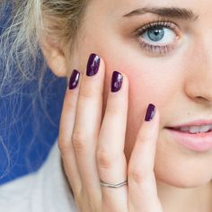 Tutorial: Layering nail colors. This look is a dark grey slate crème with one coat of pink radish jelly. Presto! A moody, glossy violet.