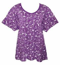 WOMAN WITHIN 5X Purple Berry Floral Print Short Sleeve Tunic Top Blouse-NWOT #Woman Within#Womens#Plus Size#Tunic#Casual Work