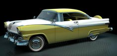 1956 Ford Fairlane Victoria - you can't beat yellow and white in the fifties Ford Fairlane, Us Cars, Sport Cars, Detroit Steel, Ford Lincoln Mercury, Unique Cars, Ford Motor Company, Car Car, Oeuvre D'art
