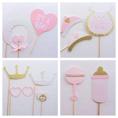 It's a Girl Baby Shower Photo Booth Props; Pink and Gold ; Pink, and Silver Baby Shower Deco Baby Shower, Bebe Shower, Baby Shower Photo Booth, Baby Shower Photos, Baby Shower Favors, Baby Shower Themes, Baby Boy Shower, Baby Shower Invitations, Baby Shower Gifts