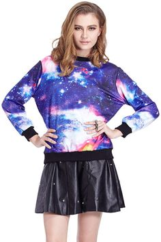 Round Neck Galaxy Print Ribbed Sweateshirt Jumper on Etsy, $30.00 Galaxy Print, Jumper, Trending Outfits, Unique Jewelry, Handmade Gifts, Clothes, Vintage, Etsy, Kid Craft Gifts