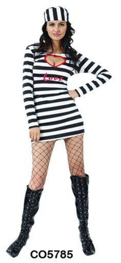 Womens Prisoner Lady Convict Jailbird Costume Fancy Dress Up Party