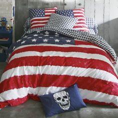 Housse de couette coton imprimée drapeau américain US FLAG - 3Suisses