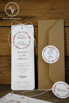 Partecipazione invito nozze matrimonio  con fiori di Bibart