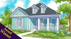 The Sycamore floor plan is a luxury, southern traditional, narrow lot home plan with an inviting front porch that provides plenty of curb appeal. Cottage House Designs, Cottage House Plans, Small House Plans, Cottage Homes, Cottage Living, Custom Home Plans, Custom Homes, Sycamore House, Luxury House Plans