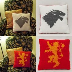 """A 14"""" x 14"""" pillow inspired by A Game of Thrones. On one side is the Stark direwolf sigil, and on the other the Lannister lion sigil. Thi..."""