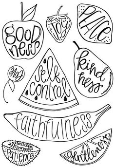 Fruit of the Spirit Clear Acrylic Stamp Set - Taz + Belly, by Kristin Fields - Obst Fotografie Bible Lessons For Kids, Bible For Kids, Sunday School Lessons, Sunday School Crafts, School Kids, School Stuff, Love Coloring Pages, Coloring Sheets, Saint Esprit