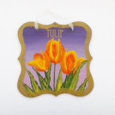 Hand painted tulip wall hanging £6.50