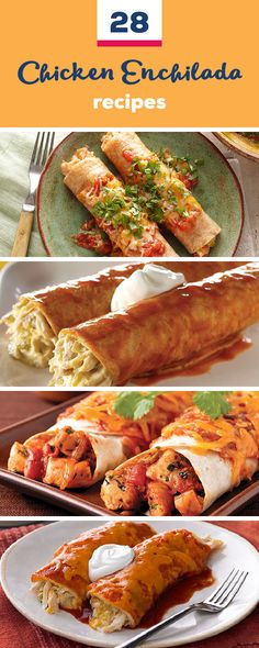 28 Chicken Enchilada Recipes Chicken, Tortillas, Cheese, All The Classics Are Fo… Pulled Chicken Recipes, Chicken Skillet Recipes, Fried Chicken Recipes, Chicken Enchiladas Verde, Red Enchiladas, Mexican Food Recipes, Dinner Recipes, Mexican Dishes, Healthy Recipes
