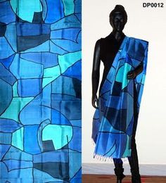 Blue color hand-painted dupatta – Panache Haute Couture