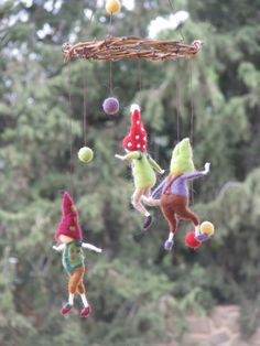 ball playing, felted mobile