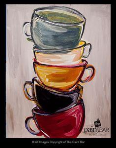 Lemondée Gillespie Watkins DeeDee is putting coffee cup decor in her kitchen. Coffee Artwork, Coffee Cup Art, Coffee Painting, Coffee Coffee, Easy Paintings, Beautiful Paintings, Watercolor Paintings, Acrylic Paintings, Painting Art