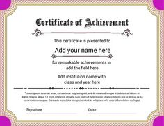 certificate of achievement featuring a bright look for that fun achievement try this free