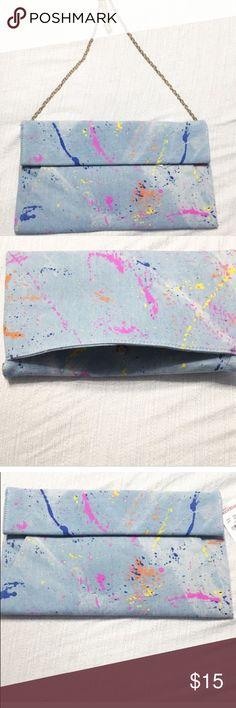 Denim paint splatter cross body bag / clutch Wear it cross body or even as a clutch!  Light blue denim with paint splatter Olivia Miller Bags Crossbody Bags