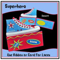 A range of fun cards for the younger generation. The card is laced at the top - you can use either ribbon or cord for this novelty touch. Craft Projects, Projects To Try, Cool Cards, Fun Crafts, Sneaker, Make It Yourself, Crafty, Superhero, How To Make
