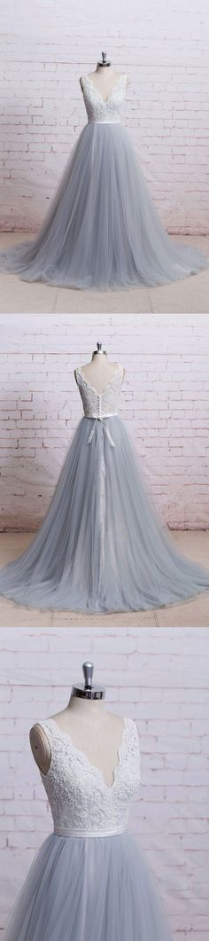 Lace top grey tulle wedding dressesv-neck wedding dresses