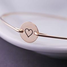 Gold Heart Jewelry Hand Stamped Bangle Bracelets by georgiedesigns, $38.00 for bridesmaids' gifts