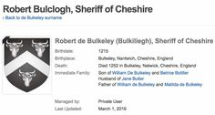Robert de Bulkeley, Sheriff of Cheshire 1215-1252, Pedigree per geni.com