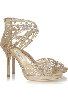 Jimmy Choo Dina Crystal-Embellished Suede Sandals