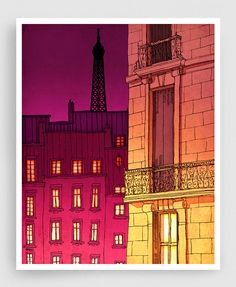 20% OFF SALE: Paris illustration  Paris windows night by tubidu