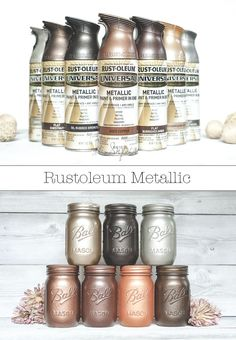 Rustoleum metallic spray paint colors on mason jars Mason Jar Projects, Mason Jar Crafts, Diy Projects, Metal Projects, Metallic Spray Paint Colors, Rustoleum Spray Paint Colors, Fall Paint Colors, Rustic Paint Colors, Metallic Decor