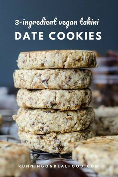 These Vegan Tahini Date Cookies are made with only 3 simple ingredients so easy and delicious! kids snacks Vegan Tahini Date Cookies Healthy Vegan Snacks, Healthy Cookies, Vegan Treats, Healthy Sweets, Yummy Snacks, Easy Vegan Snack, Heart Healthy Desserts, Vegan Oatmeal Cookies, Veggie Snacks