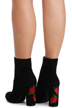 Black Rose Embroidery Booties