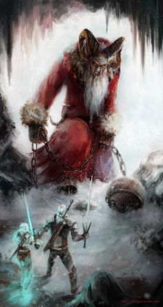 Somewhere in Skellige Ciri and Geralt took a strange contract; a beast who kills folks (especially naughty ones), appears only around Yuletide and its name is Krampus. Saint Nicholas day is coming December) and no Krampus this. The Witcher 3, The Witcher Books, The Witcher Wild Hunt, Witcher Art, Arte Horror, Horror Art, Witcher Monsters, Olgierd Von Everec, Geralt And Ciri