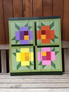 Rose barn quilt Barn Quilt Designs, Barn Quilt Patterns, Paper Piecing Patterns, Quilting Designs, Painted Barn Quilts, Farm Quilt, Barn Art, Colorful Quilts, Square Quilt
