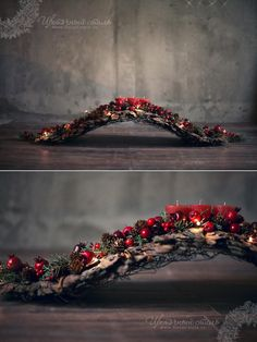 What a creative base for a natural arrangement; driftwood would look perfect. What a creative base for a natural arrangement; driftwood would look perfect. Christmas Mantels, Christmas Candle, Christmas Love, Rustic Christmas, Winter Christmas, Christmas Wreaths, Christmas Arrangements, Christmas Centerpieces, Xmas Decorations