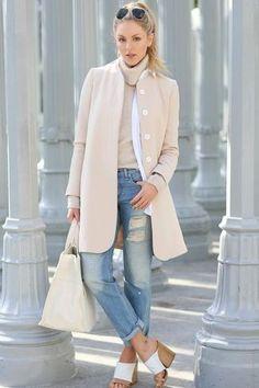 Women's Beige Coat, Beige Turtleneck, White Dress Shirt, Blue Ripped Boyfriend Jeans