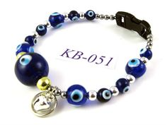 KB051 Cobalt Blue acrylic and glass round Kitty by OklahomaMama, $10.00
