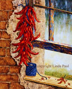Red Hot Chili Peppers Art print on canvas - This canvas art of a red chili pepper ristra and window is perfect for Chili pepper & kitchen decor - Chile Peppers Art New Mexico, Mexico Art, Canvas Art For Sale, Canvas Art Prints, Art For Sale Online, Online Art, Santa Fe Style, Southwestern Art, Hottest Chili Pepper