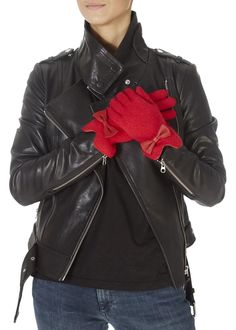 These are the Red Gloves With Leather Bow by Italian brand 'Santacana'. They feature a sweet leather bow and soft feel. Red Gloves, Leather Bow, Red Fabric, Shop Now, Burgundy, Bows, Sweet, Clothing, Shopping